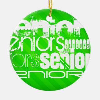 Seniors; Neon Green Stripes Round Ceramic Ornament