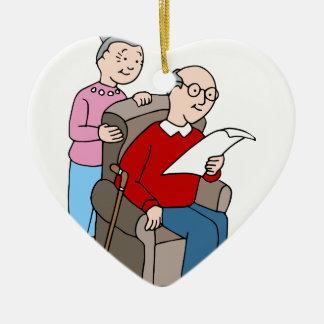 Seniors Reading Document Double-Sided Heart Ceramic Christmas Ornament