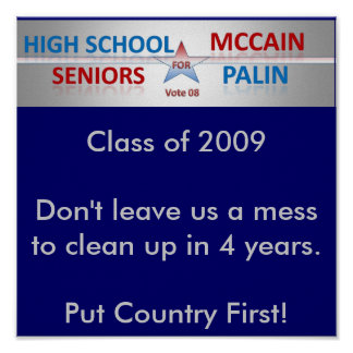 Seniors Vote McCain and Palin Poster