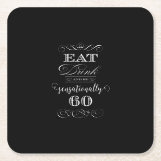 Sensationally 60 Birthday Party Gift Square Paper Coaster