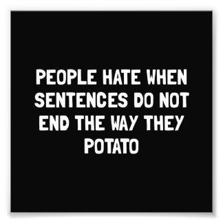 Sentences Potato Photograph