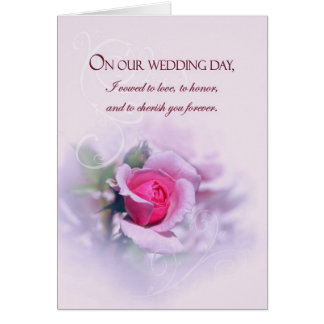 Sentimental Anniversary Wedding Vows With Rose Greeting Card