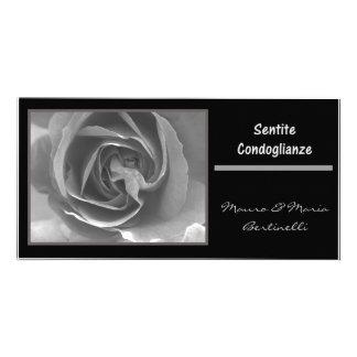 Sentite condoglianze italiano black white rose personalized photo card