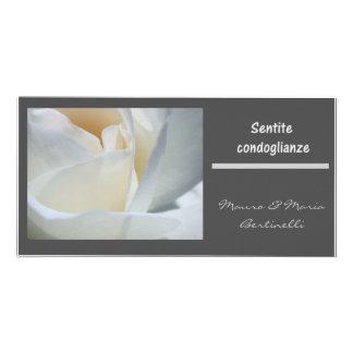 Sentite condoglianze italiano black white rose photo cards
