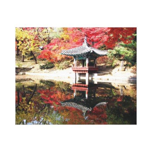 Seoul Autumn Japanese Garden Canvas Prints