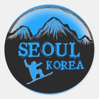 Seoul Korea blue snowboard stickers