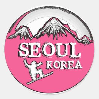 Seoul Korea pink theme snowboard stickers
