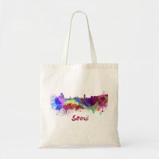 Seoul skyline in watercolor tote bag