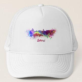 Seoul skyline in watercolor trucker hat