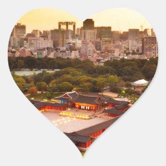 Seoul South Korea Skyline Heart Sticker