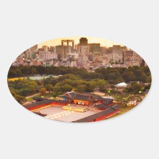 Seoul South Korea Skyline Oval Sticker