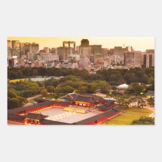 Seoul South Korea Skyline Rectangular Sticker