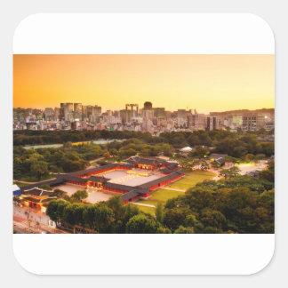 Seoul South Korea Skyline Square Sticker