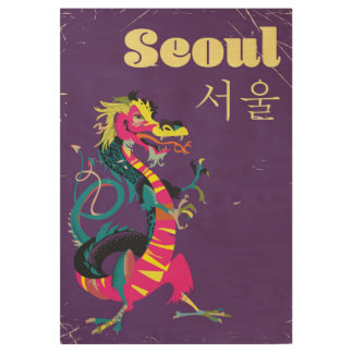 Seoul South Korean travel poster Wood Poster