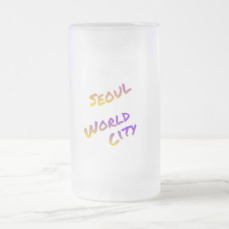 Seoul world city, colorful text art frosted glass beer mug