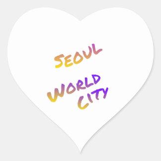 Seoul world city, colorful text art heart sticker