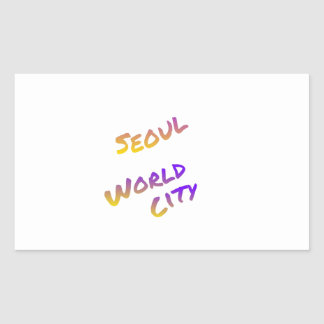 Seoul world city, colorful text art rectangular sticker