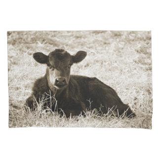 Sepia Baby Cow Pillow Case