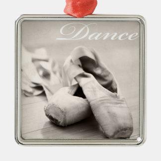 Sepia Ballet Slipper Pointe Shoes Dance Template Metal Ornament