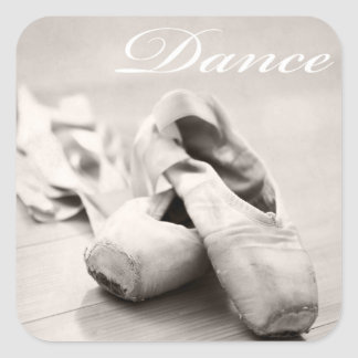 Sepia Ballet Slipper Pointe Shoes Dance Template Square Sticker