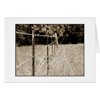 Sepia Barb Wire Fence Card