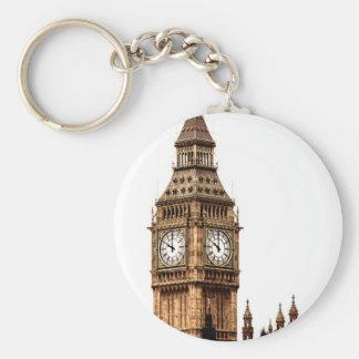 Sepia Big Ben Tower Basic Round Button Key Ring