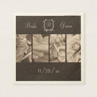 Sepia Biker Wedding Photos Custom Paper Napkins