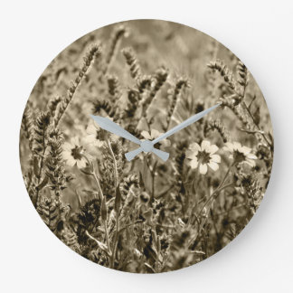 Sepia Botany Photograph Large Clock