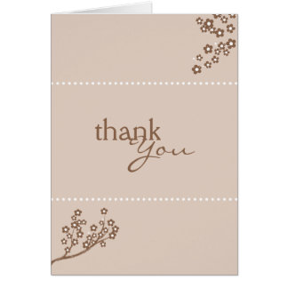 Sepia Brown Branch Design Thank You Card