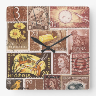 Sepia Brown Gold Wall Clock, Postage Stamp Art Square Wall Clock
