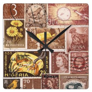 Sepia Brown Gold Wall Clock, Postage Stamp Art Wallclock