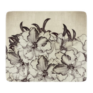 Sepia Brown Orchid Garden Sketch Cutting Board