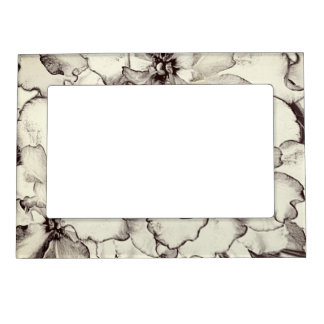 Sepia Brown Orchid Garden Sketch Magnetic Frame