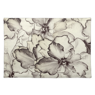 Sepia Brown Orchid Garden Sketch Placemat
