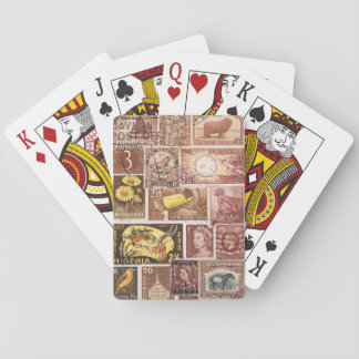 Sepia Brown Playing Cards, Vintage Postage Stamps Poker Cards