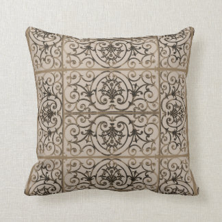 Sepia brown scrollwork pattern throw pillow