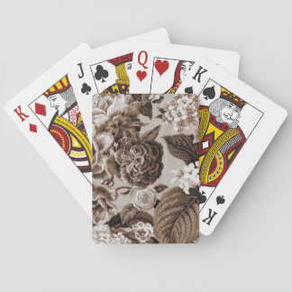 Sepia Brown Vintage Floral Toile Fabric No.1 Poker Deck