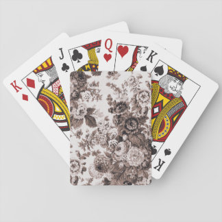Sepia Brown Vintage Floral Toile Fabric No.3 Playing Cards