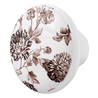 Sepia Brown Vintage Floral Toile No.2 Ceramic Knob
