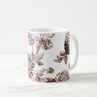 Sepia Brown Vintage Floral Toile No.2 Coffee Mug