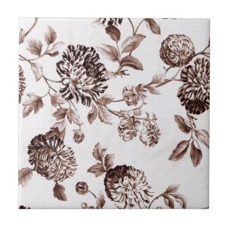 Sepia Brown Vintage Floral Toile No.2 Tile