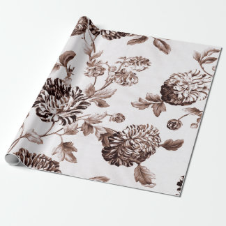 Sepia Brown White Vintage Botanical Floral Toile Wrapping Paper