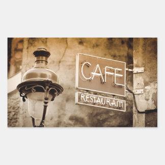 Sepia cafe sign, Paris, France Rectangular Sticker