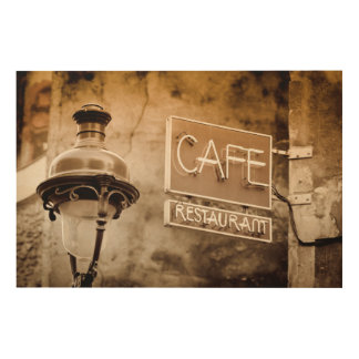 Sepia cafe sign, Paris, France Wood Print