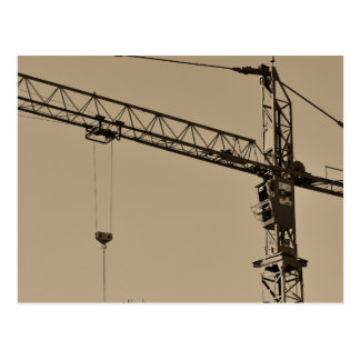 Sepia Construction Crane Postcard