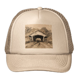Sepia Covered Bridge Trucker Hat