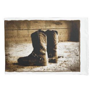 Sepia Cowboy Boots Pillow Case