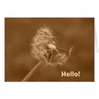 Sepia Dandelion Hello! Card (Blank Inside)
