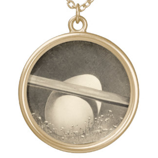 Sepia Easter photo with 2 bunnies charm Round Pendant Necklace