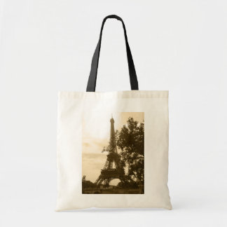 Sepia Eiffel Tower Tote Bags